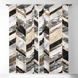 Abstract Chevron Pattern - Black and White Marble Blackout Curtain