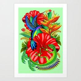 The Lizard, The Hummingbird and The Hibiscus Art Print