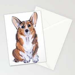 Corgi sumie and watercolor painting Stationery Cards