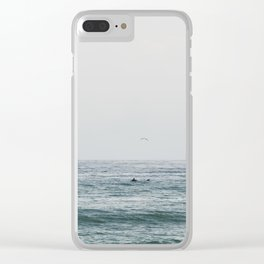 Lonely Dolphin blue summer seascape art Clear iPhone Case