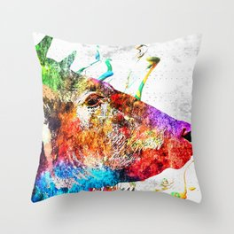 Cow Profile Watercolor Grunge Throw Pillow
