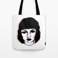 mia wallace Tote Bags featuring Mia Wallace Glitch by Megan