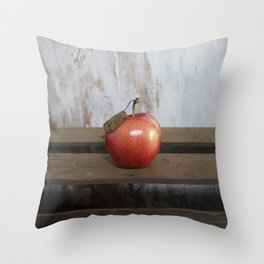 Apple on a Vintage Crate Throw Pillow