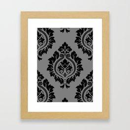 Decorative Damask Pattern Black on Gray Framed Art Print