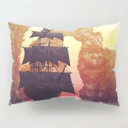 A pirate ship off an island at a sunset Pillow Sham