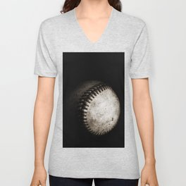 Battered Baseball in Black and White Unisex V-Neck