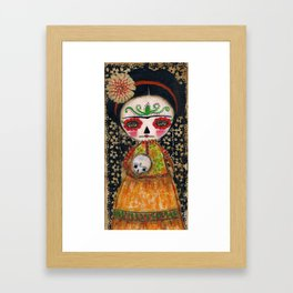 Frida The Catrina And The Skull - Dia De Los Muertos Mixed Media Art Framed Art Print