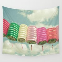 lanterns Wall Tapestries featuring Chinese Lanterns by Cassia Beck