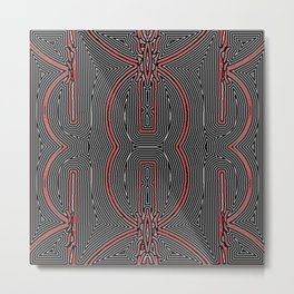 Maze Texture Red Black and White Design Metal Print