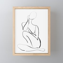Female Figure Line Art Framed Mini Art Print