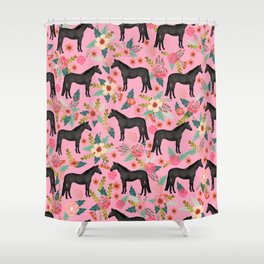 black beauty, mare, horse, horses, floral, florals, black horse, horse bedding, horse decor, cowgirl Shower Curtain