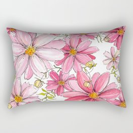 Pink Floral Pattern Rectangular Pillow