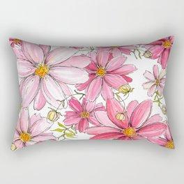Pink Spring Flower Pattern Rectangular Pillow