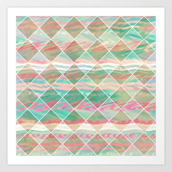 Summer Checkers | Girly Modern Pastel Geometric Diamond Shapes Art Print