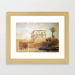 town people lake Framed Art Print