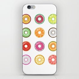Colorful Fruit Donuts Collection Art, Sweet Fruity Donut Set, Delicious Large Printable Photography iPhone Skin