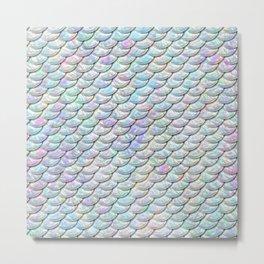 Mermaid Scales, Pattern, Pearl, Iridescent, Pastel Colors Metal Print