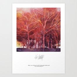Alberi rossi nel bosco Art Print