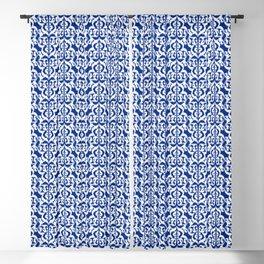 Ikat Moorish Damask, Cobalt Blue and White Blackout Curtain