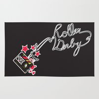 roller derby Area & Throw Rugs featuring Roller Derby Cassette Tape by LucyDynamite