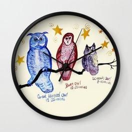 owl family watercolor Wall Clock