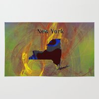 new york map Area & Throw Rugs featuring New York Map by Roger Wedegis