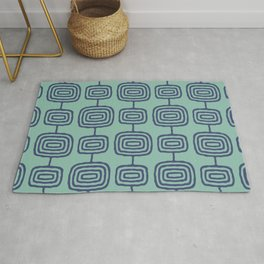 Mid Century Modern Atomic Rings Pattern Turquoise and Blue Rug