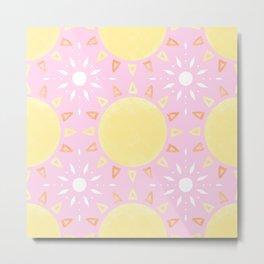 Sun Tiles (Pig Pink) Metal Print