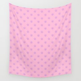 Lavender Violet on Cotton Candy Pink Snowflakes Wall Tapestry