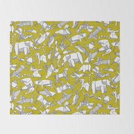 origami animal ditsy chartreuse Throw Blanket