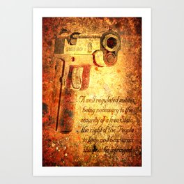 M1911 Pistol And Second Amendment On Rusted Overlay Art Print