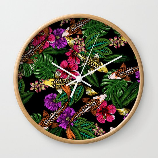 Tropical Koi Wall Clock