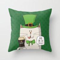 irish Throw Pillows featuring Saint Patric's cat, Cat cartoon characters, Irish Cat cartoon, ZWD004 by ZeeWillDraw