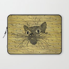 Black  Cat on Vintage gold pattern Laptop Sleeve