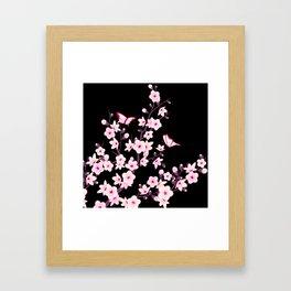 Cherry Blossom Pink Black Framed Art Print