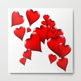 MODERN ART RED VALENTINES HEART  DESIGN Metal Print