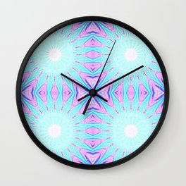 Pink & Blue Starlight Explosion Pastel Pattern Wall Clock