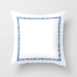 Blu Frame with white snow balls decoration. New Year Decoration Adornment. Watercolor hand-drawn. Throw Pillow