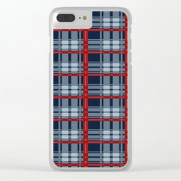 Red Line White And Red Lumberjack Flannel Pattern Clear iPhone Case