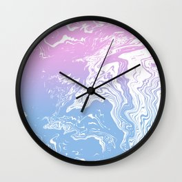 Suminagashi marble pastel pink and blue minimal watercolor spilled ink swirl Wall Clock