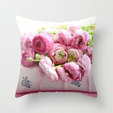 Shabby Chic Floral Prints Ranunculus Throw Pillow