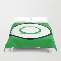 green lantern Duvet Covers featuring Green Lantern Symbol by Crayle Vanest