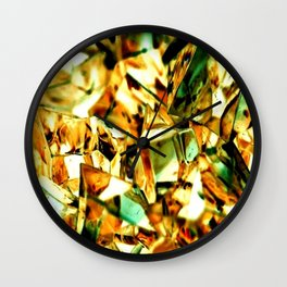 Golden and Green Chrystal Glass Abstract Wall Clock