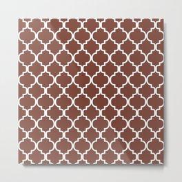 Moroccan Trellis (White & Brown Pattern) Metal Print