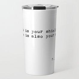 Typewriter Thoughts #5 - shield & sword Travel Mug