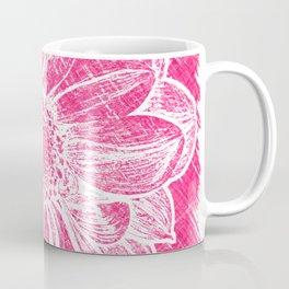 White Flower On Pink Crayon Coffee Mug
