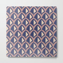 Classic Hollywood Regency Pyramid Pattern 234 Blue Brown and Beige Metal Print