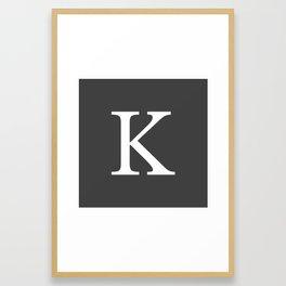 Very Dark Gray Basic Monogram K Framed Art Print