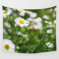 daisies Wall Tapestries featuring Daisies by Michelle McConnell