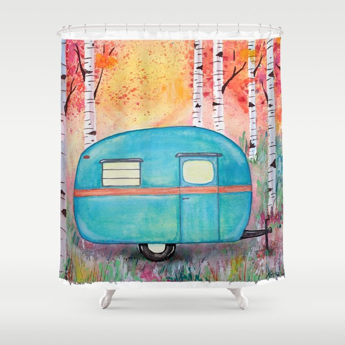 Vintage Camper Beach Towel Among The Birch Shower Curtain By Twodancingcrows